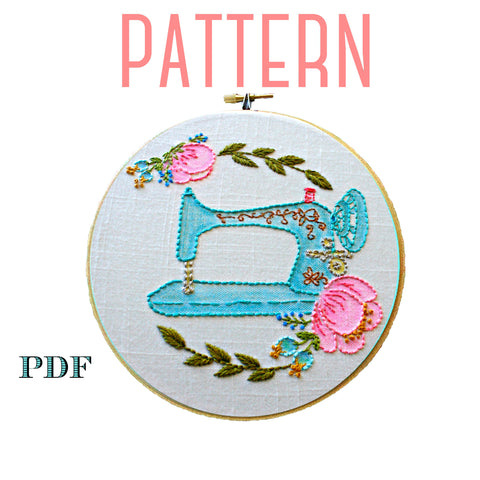 Vintage Sewing Machine Embroidery Pattern