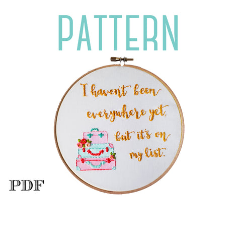 Travel Themed Embroidery Pattern