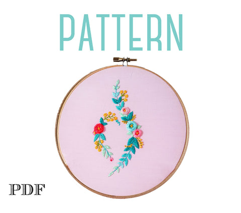 Floral NEDA Symbol PDF Embroidery Pattern