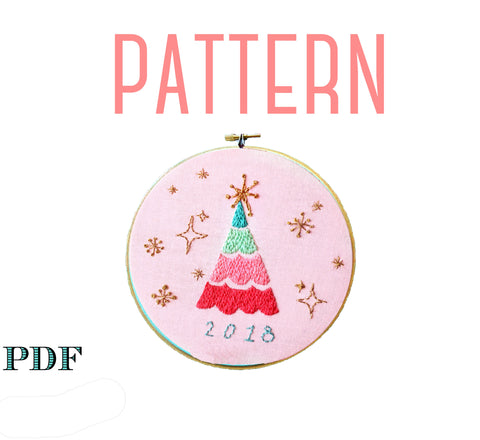 Pastel Retro Christmas Tree 2019 Embroidery Pattern