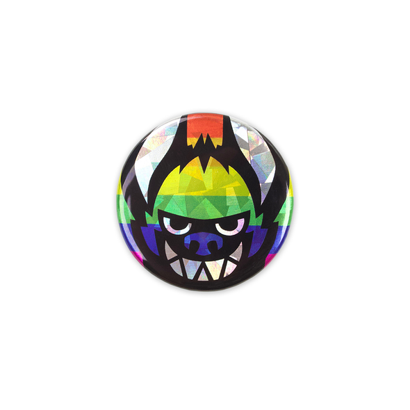 Sparkly Pin Button - Rainbow Face