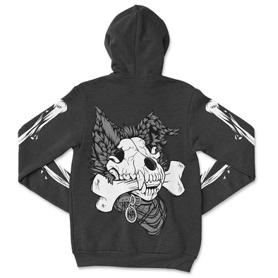 Dog Bone Zip Hoodie - Charcoal