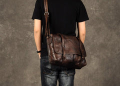 Genuine Leather Mens Cool Messenger Bag Shoulder Bag Chest Bag Bike Bag Cycling Bag for men