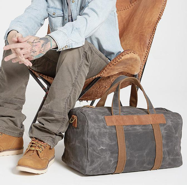 Gray Canvas Mens Travel Bag Weekender Bag Duffle Bag Large Canvas Weekender Bag for Men