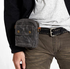 Gray Cool Canvas Mens Mini Vertical Waist Bag Belt Pouch Messenger Bags Side Bag for Men