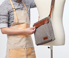 Mens Canvas Leather Square Side Bag Messenger Bag Canvas Shoulder Bag for Men