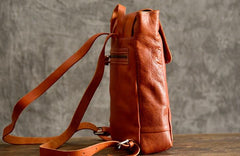 Handmade Leather Mens Women Cool Backpack Sling Bag Large Brown Travel Bag Hiking Bag for men