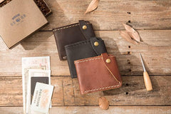 Handmade Leather Mens Small Wallets Bifold Slim Front Pocket Wallet for Men