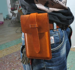 Handmade Leather Belt Pouch Mens Waist Bag Phone holsters for Men