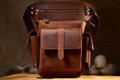 Biker Mens Leather Drop Leg Bag Waist Bag Side Bag Belt Pouch Pack for Men