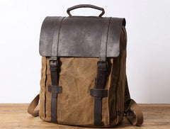 Mens Canvas Leather Backpack Canvas Travel Backpacks Canvas School Backpacks for Men