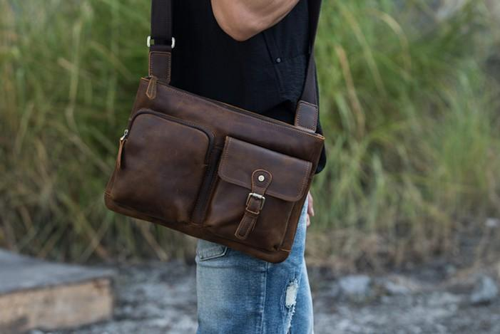 Vintage Leather Mens Cool Messenger Bag Shoulder Bags  for Men