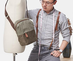 Mens Canvas Gray Cool Messenger Bag Side Bag Canvas Shoulder Bag for Men