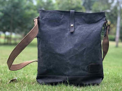 Waxed Canvas Messenger Bag for men Vintage Shoulder Bag for men