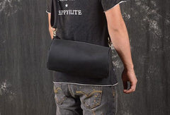 Cool Leather Mens Barrel Shoulder Bag Crossbody Bag Travel Bags For Men