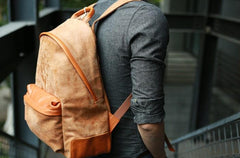 Cool Brown Leather Mens Backpacks Travel Backpacks Laptop Backpack for men