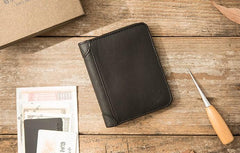 Black Cool Leather Mens Small Wallet Trifold Vintage billfold Wallet for Men