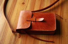Handmade Vintage Leather Mens Small Messenger Bag Brown Cell Phone Shoulder Bag for Men
