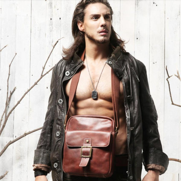 Brown Leather Mens Small Vertical Side Bag Messenger Bags Brown Casual Bicycle Bags for Men