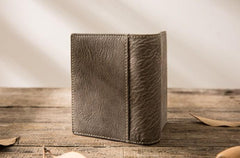 Gray Cool Leather Mens Small Wallet Bifold Vintage Slim billfold Wallet for Men