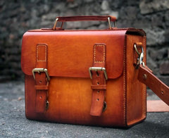 Cool Handmade Leather Mens Small Messenger Bag Camera Bag for men
