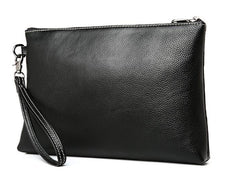 Black Leather Mens Wristlet Wallet Bag Zipper Clutch Wallet For Men
