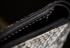 Handmade Leather Boa Skin Tooled Mens billfold Wallet Cool Slim Wallet Biker Wallet for Men