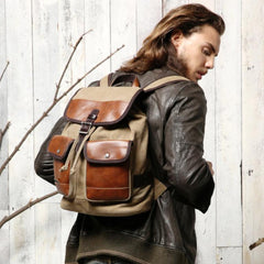 Fashion Canvas Leather Mens Khaki Backpack School Backpack Black Canvas Travel Backpack For Men