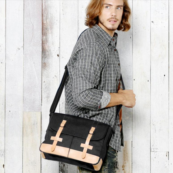 Black Canvas Leather Mens Side Bag Messenger Bags Navy Blue Canvas Courier Bags for Men