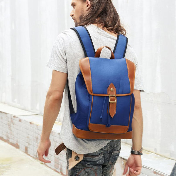Blue Nylon Leather Mens Large 14'' Laptop Backpack College Backpack Travel Backpack for Men