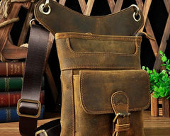 Cool Biker Leather Drop Leg Bag Mens Belt Pouch Waist Bag Shoulder Bag for Men