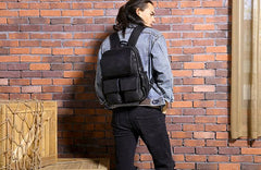 Cool Mens Leather Backpacks Black Travel Backpacks Laptop Backpack for men