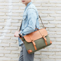 Army Green Leather Canvas Mens Casual Briefcase Shoulder Bag Messenger Bags Casual Courier Bags for Men