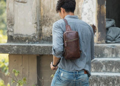 Coffee Leather Mens Sling Bag Sling Shoulder Bag Sling Backpacks for men