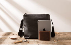 Small Cool Black Square Leather Mens Messenger Bags Shoulder Bags for Men