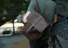 Leather Coffee Mens Backpack Cool Travel Backpacks Laptop Backpack for men