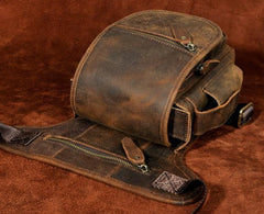 Cool Biker Mens Leather Drop Leg Bag Side Bag Belt Pouch Waist Bag Shoulder Bag for Men