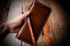 Handmade Leather Mens Chain Biker Wallet Cool Leather Wallet Long Clutch Wallets for Men
