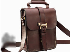 Handmade Leather Mens Cool Messenger Bag Sling Bag Chest Bag Bike Bag Cycling Bag for men