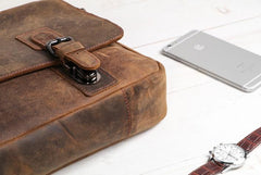 Vintage Coffee Leather Mens Briefcase Work Bag Laptop Bag Business Bag for Men