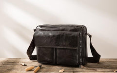 Cool Black Leather Mens Messenger Bag Vintage Shoulder Bag for Men