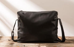 Black Cool Leather Mens Large Messenger Bags Shoulder Bags  for Men