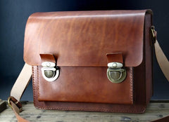 Handmade Vintage Coffee Leather Mens Camera Shoulder Bags Camera Messenger Bag for Men