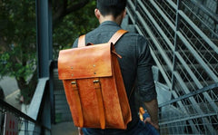 Leather Mens School Backpacks Travel Backpacks Laptop Backpack for men