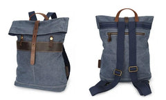 Cool Waxed Canvas Leather Mens Backpack Canvas Travel Backpack Canvas School Backpack for Men