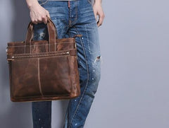Cool Coffee Leather Mens Briefcases Work Bag Laptop Bag Business Bag for Men