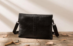Small Leather Black Mens Cool Messenger Bags Shoulder Bags  for Men