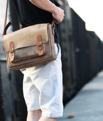 Handmade Vintage Leather Mens Messenger Bags Coffee Shoulder Bags for Men