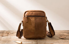 Small Cool Leather Mens Messenger Bags Shoulder Bags for Men