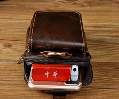 Small Mens Leather Belt Pouch Holster Belt Case Cell Phone Waist Pouch for Men